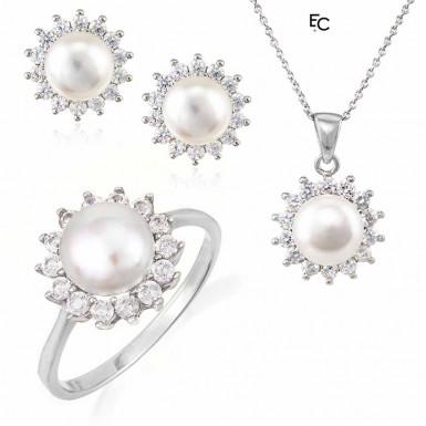Set din Argint 925 cu Zirconiu si Perle (01-1512)