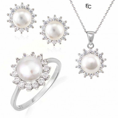 Set in sterling silver with Zircon stones and Pearls (01-1512)