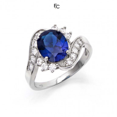 Sterling Silver ring with blue rosette and white Zircon stones (01-2058BLU)