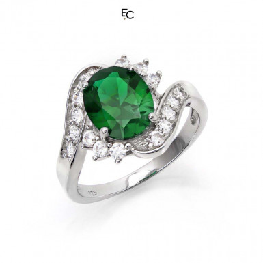 Sterling Silver ring with green rosette and white Zircon stones (01-2058GRN)