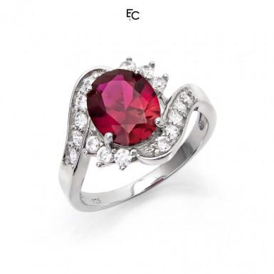 Inel din Argint 925 cu rozeta rosie si pietre de zirconiu alb (01-2058RED)