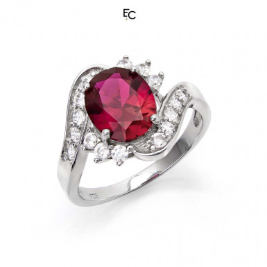Sterling Silver ring with red rosette and white Zircon stones (01-2058RED)