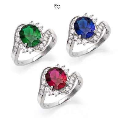 Set of 3 Sterling Silver rings with color centeral rosette and white Zircon stones (01-2058SET)