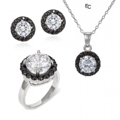 Set in sterling silver with black and white Zircon stones (01-2113)