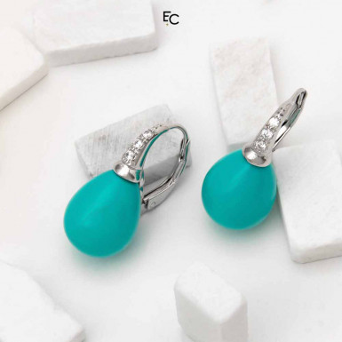 Sterling Silver Earrings  with Turqoise and Zircon (02-850BLU)