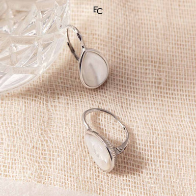 Sterling Silver Earrings with Mother of Pearls (IS00055-02-1476)