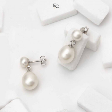 Sterling Silver Earrings with 2 Pearls (02-1066WHT)