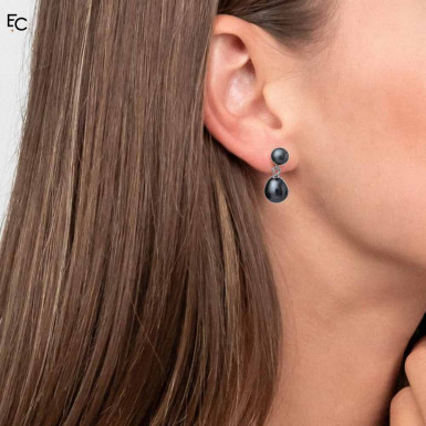 Sterling Silver Earrings with 2 black Pearls (02-1066BLK)