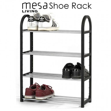 Shoe Rack Mesa Living - shoe rack with 4 shelves for storing up to 12 pairs of shoes