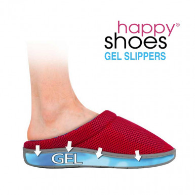 Happy Shoes Gel Slippers - anatomic slippers with bamboo and gel sole in red