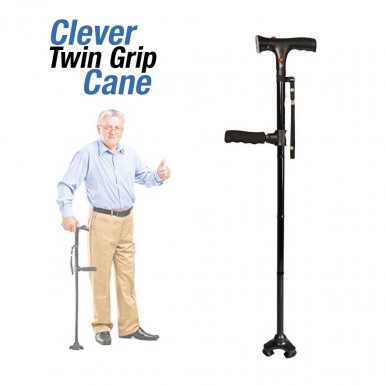 Clever Twin Grip Cane - foldable cane with secondary handle, LED, alarm and 3 contact points