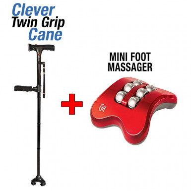 Pachet Promo: Clever Twin Grip Cane + Mini Foot Massager