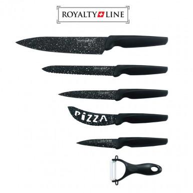 Royalty Line knives set MB5N - set of 5 ceramic marble coating knives and 1 ceramic peeler