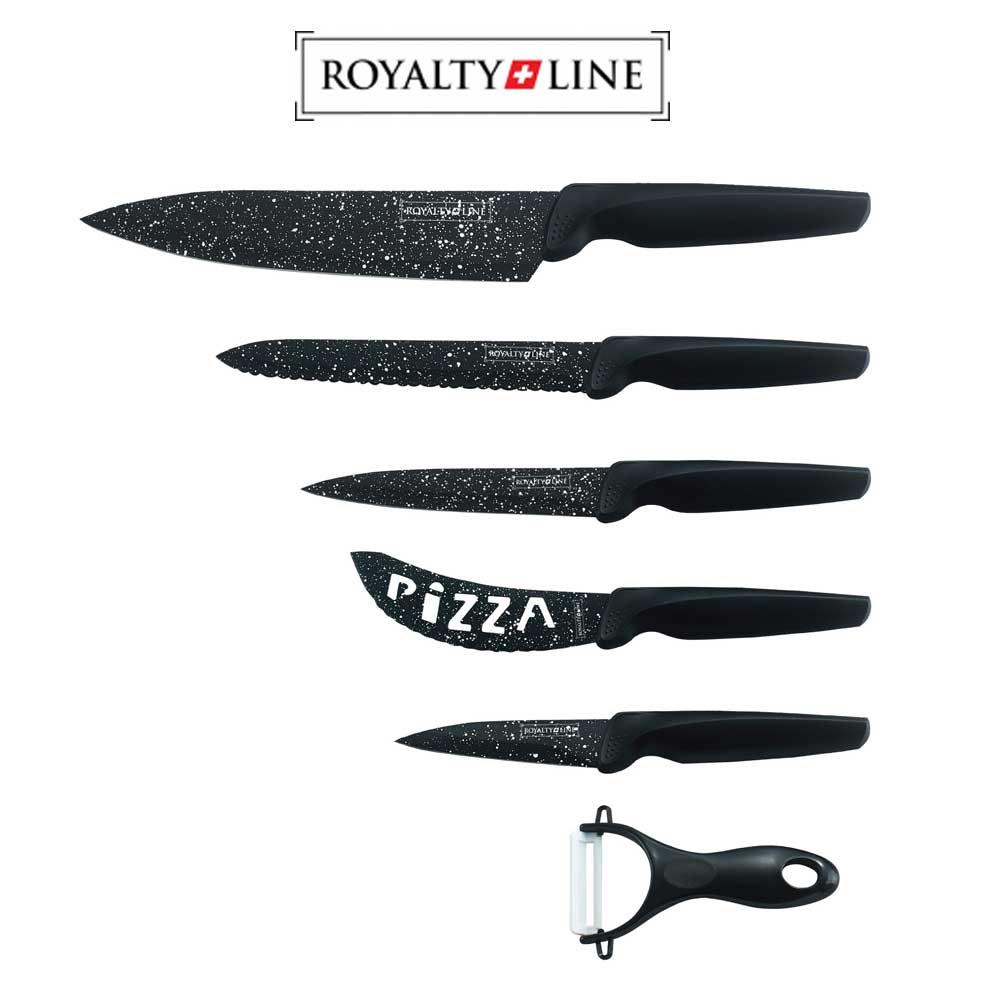 Royalty Line knives set MB5N - set de 5 cutite acoperite cu ceramica cu aspect de marmura si 1 decojitor din ceramica