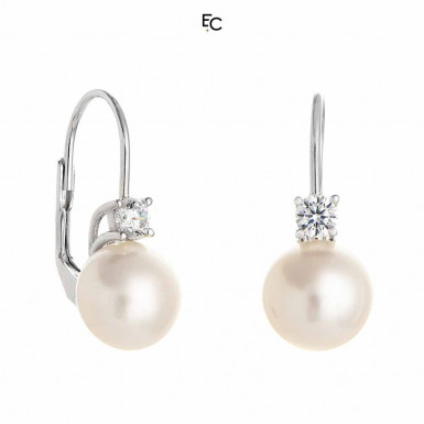 Silver Earings with Zircon and Pearls (02-1067W)