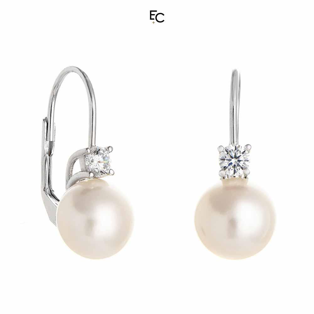 Cercei din Argint 925 cu Zircon si Perle (02-1067W)